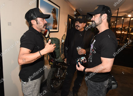 Emilio Rivera, center, Michael Irby, left, and Danny Pino of FX's Mayans M.C. attends the Season 1 DVD release celebration at Heroes Motors. Mayans M.C. Season 1 in stores