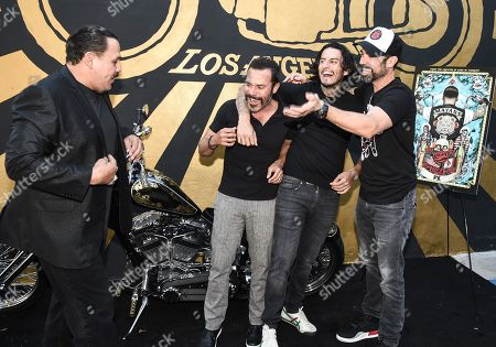 Emilio Rivera, Michael Irby, Richard Cabral and Danny Pino of FX's Mayans M.C. attends the Season 1 DVD release celebration at Heroes Motors. Mayans M.C. Season 1 in stores