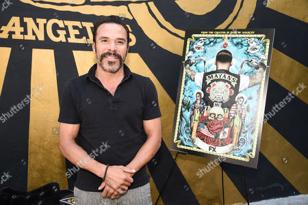Michael Irby of FX's Mayans M.C. attends the Season 1 DVD release celebration at Heroes Motors. Mayans M.C. Season 1 in stores