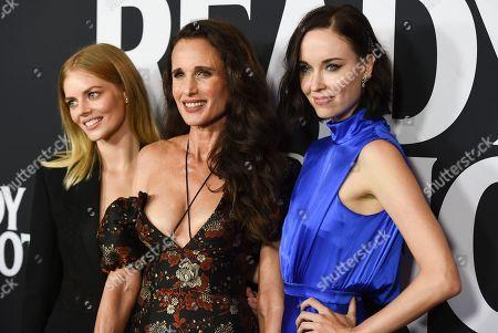 Samara Weaving, Andie MacDowell and Elyse Levesque