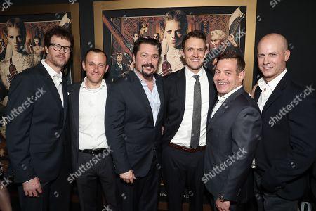 Stock Image of Tyler Gillett, William Sherak, James Vanderbilt, Matt Bettinelli-Olpin, Chad Villella and Tripp Vinson