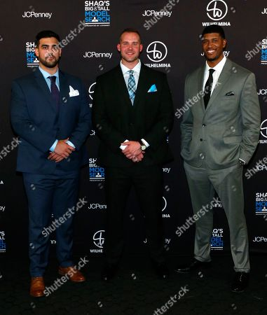Stock Image of From left) Model Search winners Ricardo Vichot, Jordan Alexander Cochran and Chukwukere Ekeh pose during the reveal event for Shaquille O'Neal's Big & Tall Model Search presented by JCPenney and Wilhelmina at STK Downtown in New York