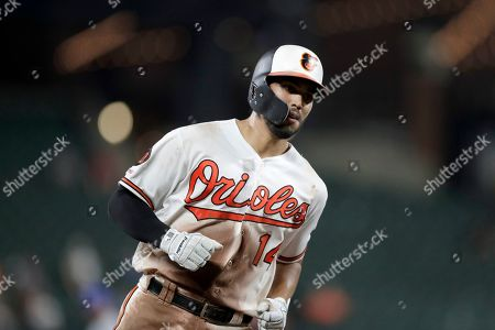 Baltimore Orioles' Rio Ruiz runs the bases after hitting a solo home run off Kansas City Royals relief pitcher Ian Kennedy during the ninth inning of a baseball game, in Baltimore. The Royals won 5-4