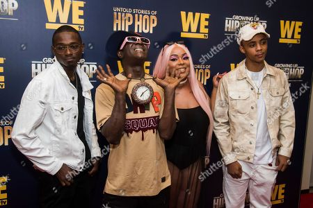 """William Drayton Jr., Flavor Flav, Dazyna Drayton, H2Flee. William Drayton Jr., left, Flavor Flav, Dazyna Drayton and H2Flee attend the premieres of We TV's """"Growing Up Hip Hop: New York"""" and """"Untold Stories of Hip Hop"""" at The Paley Center, in New York"""