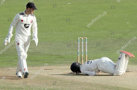 Adam Wheater of Essex writhes in agony having received a painful blow during Kent CCC vs Essex CCC, Specsavers County Championship Division 1 Cricket at the St Lawrence Ground on 20th August 2019