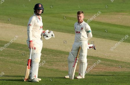 Simon Harmer (left) and Adam Wheater of Essex in between overs during Kent CCC vs Essex CCC, Specsavers County Championship Division 1 Cricket at the St Lawrence Ground on 20th August 2019