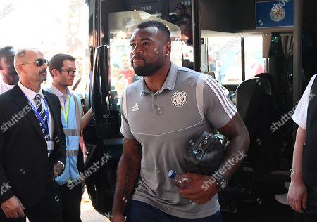 Wes Morgan of Leicester City arrives
