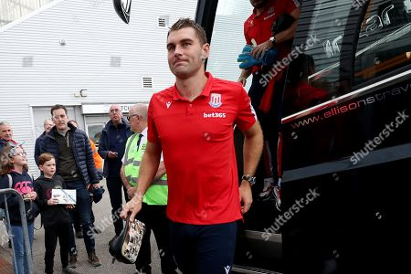 Sam Vokes of Stoke City arrives