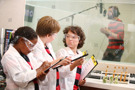 Nya Riley (8), Katie Downey (10), and Matti Kolirin (11) undertake research during the recording of the world's scientifically funniest fart as discovered in a new ground-breaking academic study commissioned by Beano