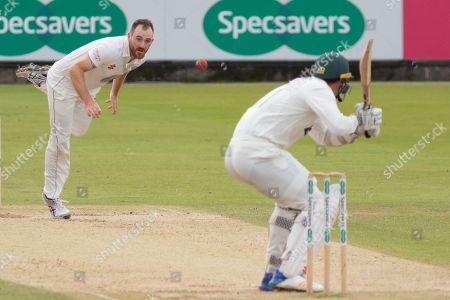 Ben Raine bounces Chris Wright during the Specsavers County Champ Div 2 match between Durham County Cricket Club and Leicestershire County Cricket Club at the Emirates Durham ICG Ground, Chester-le-Street