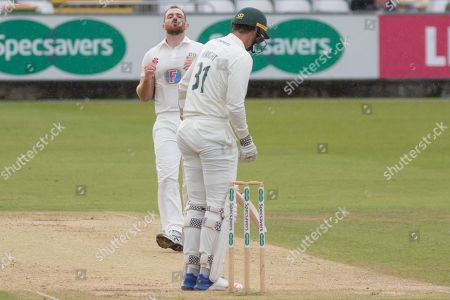 Ben Raine & Chris Wright during the Specsavers County Champ Div 2 match between Durham County Cricket Club and Leicestershire County Cricket Club at the Emirates Durham ICG Ground, Chester-le-Street
