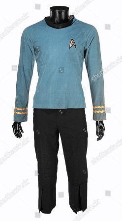 Spock's (Leonard Nimoy) science officer costume from Gene Roddenberry's sci-fi television series Star Trek: The Original Series. Estimate: £50,000 - £70,000.