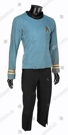 Stock Photo of Spock's (Leonard Nimoy) science officer costume from Gene Roddenberry's sci-fi television series Star Trek: The Original Series. Estimate: £50,000 - £70,000.