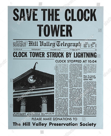"""A """"Save The Town Clock"""" flyer from Robert Zemeckis' time-travel adventure Back to the Future. Estimate: £1000 - £1500."""