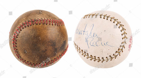 Stock Photo of A Christopher Reeve-autographed baseball and special-effects baseball from Sidney J. Estimate: £2000 - £3000.