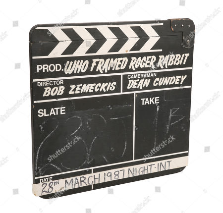 A production-used clapperboard from Robert Zemeckis' Oscar-winning detective comedy Who Framed Roger Rabbit. Estimate: £3000 - £5000.