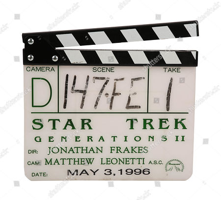 A production-used clapperboard from the set of Jonathan Frakes' sci-fi sequel Star Trek: First Contact. Estimate: £1500 - £2500.