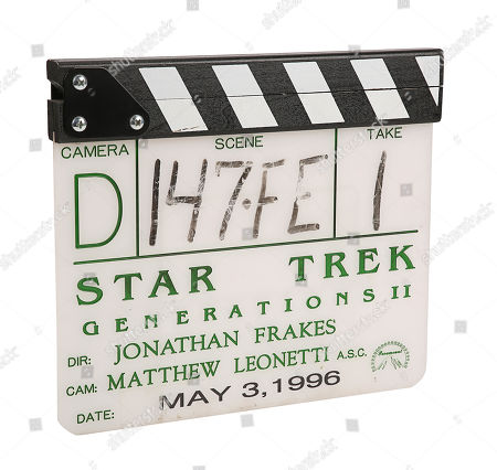 Stock Photo of A production-used clapperboard from the set of Jonathan Frakes' sci-fi sequel Star Trek: First Contact. Estimate: £1500 - £2500.