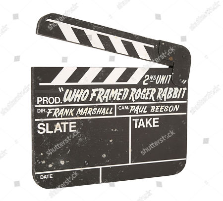 A production-used second unit clapperboard from Robert Zemeckis' Oscar-winning detective comedy Who Framed Roger Rabbit. Estimate: £2000 - £3000.