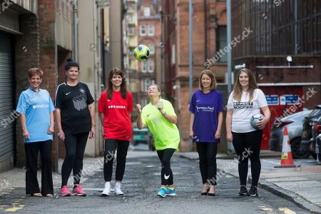 Stock Photo of Caroline McLean (Green top), Rebecca Hook (Red top), Laura Cooper (White top), Liz Dee (Black top), Carol Campbell (Blue top) and Katie Kerr (Purple top)