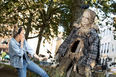 Stock Picture of Unsuspecting Londoners were pranked in Leicester Square today by terrifying scarecrow Harold, from Guillermo Del Toro produced Scary Stories to Tell in the Dark.