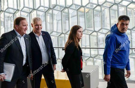 From left, Prime Minister of Sweden Stefan Lofven, Prime Minister of Finland Antti Rinne, Prime Minister of Iceland Katrin Jakobsdottir and Greenland Premier Kim Kielsen arrive at Harpa Concert Hall in Reykjavik, ahead of the Nordic Prime Ministers meeting