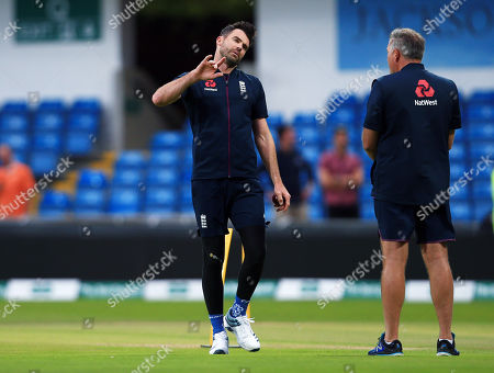 James Anderson of England on the pitch at the end of the game