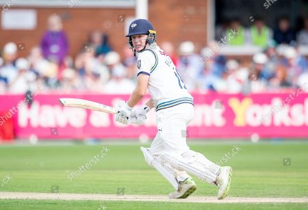 Yorkshire's Gary Ballance hits out against Nottinghamshire.