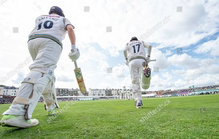 Yorkshire's Steven Patterson & Gary Ballance come out to bat against Nottinghamshire on day 3 of their county championship match.