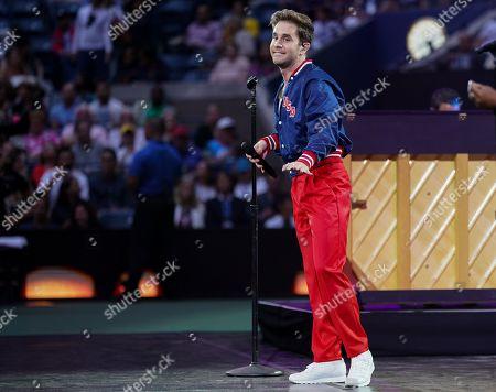 Ben Platt performs in the Arthur Ashe Stadium before the opening night session