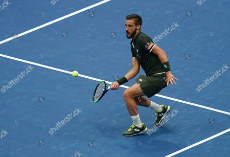 Damir Dzumhur of Bosnia and Herzegovina in action in the second round in the Arthur Ashe Stadium