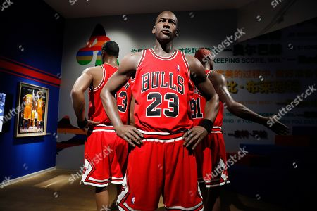 Life-size wax figures of US basketball players Michael Jordan, Scottie Pippen and Dennis Rodman are exhibited at the NBA exhibition in Beijing, China, 20 August 2019. The NBA exhibition 'Unstoppable Beijing' showcases the history of the league since 1946 through interactive exhibits, video, and imagery. It is held ahead of the FIBA Basketball World Cup in China from 31 August to 15 September 2019.