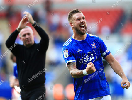 Luke Chambers of Ipswich Town celebrates at the end of the game