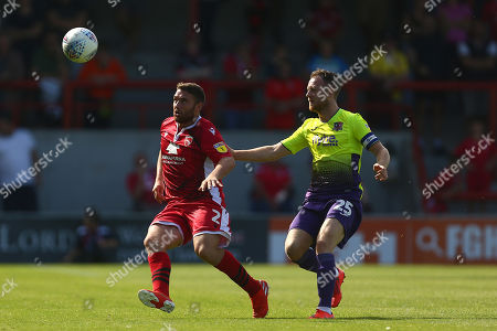 Stock Photo of Adam Buxton of Morecambe and Jake Taylor of Exeter City