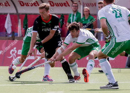 Mathias Muller of Germany (L) and Ben Walker of Ireland in action during the EuroHockey 2019 men's match between Ireland and Germany in Antwerp, Belgium, 20 August 2019.