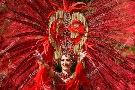 Member of the Spanish Red Passion group performs during the 50th Debrecen Flower Festival in Debrecen, Hungary, 20 August 2019. This is one of the country's major national holidays when Hungarians commemorate the foundation of their state and its founder King St Stephen.