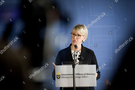 Sweden's Foreign Minister Margot Wallstrom speaks during a news conference after meeting with her Iranian counterpart Javad Zarif in Stockholm, Sweden, 20 August 2019. Javad Zarif is on a visit to Sweden for talks on bilateral and regional issues.