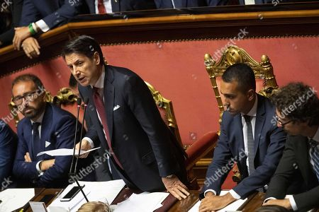 (L-R) Justice Minister Alfonso Bonafede, Italian Prime Minister Giuseppe Conte, Deputy Premier and Welfare Minister Luigi Di Maio, Transport Minister Danilo Toninelli at the Senate in Rome, Italy, 20 August 2019. Conte in his address to the senate called bringing about the government crisis irresponsible. Deputy Premier and Interior Minister Matteo Salvini and his party League pulled out from government and caused a political crisis a week ago. Conte said that the government has come to an end and that he would resign.