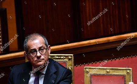 Stock Photo of Economy Minister Giovanni Tria at the Senate during the debate over a government crisis, Rome, Italy, 20 August 2019. Italian Premier Giuseppe Conte said that the government has come to an end and that he would resign.