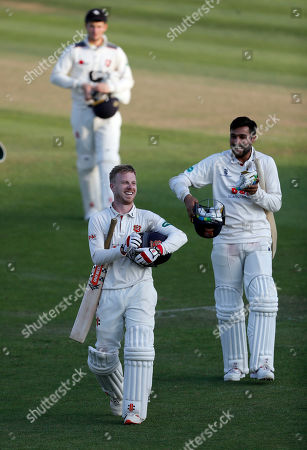 Adam Wheater (L) and Mohammad Amir of Essex are all smiles as the leave the field after their three wicket victory over Kent during Kent CCC vs Essex CCC, Specsavers County Championship Division 1 Cricket at the St Lawrence Ground on 20th August 2019
