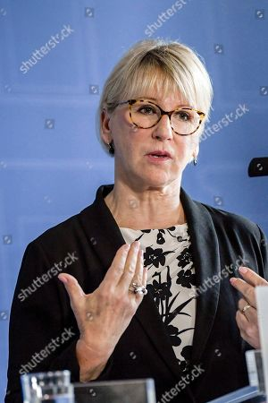 Sweden's Foreign Minister Margot Wallstrom speaks during a news conference after meeting with her Iranian counterpart, Javad Zarif.