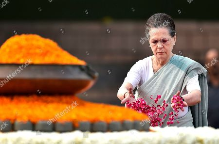 Congress Interim President Sonia Gandhi pays homage to former Prime Minister Rajiv Gandhi for his 75th birth anniversary at Veer Bhumi