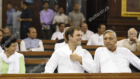 Congress leaders Rahul Gandhi, Mani Shankar Aiyar and Kumari Selja before paying tribute to former prime minister Rajiv Gandhi on his 75th birth anniversary