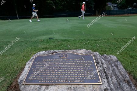 Abraham Ancer of Mexico walks past a plaque commemorating a hole-in-one by Bobby Jones during a practice round for the Tour Championship golf tournament at the East Lake Golf Club in Atlanta, Georgia, USA, 20 August 2019. The tournament, which runs from 22 August through 25 August, is the finale of the FedExCup playoffs.