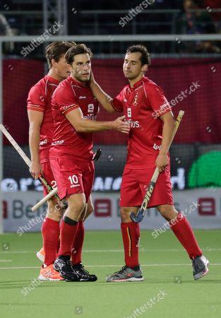 Cedric Charlier (L) of Belgium celebrates a goal  during  the EuroHockey 2019 men match between Belgium and Wales in Antwerp, Belgium, 20 August 2019.