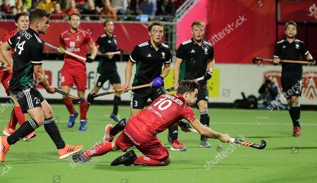 Cedric Charlier scores a goal during  the EuroHockey 2019 men match between Belgium and Wales in Antwerp, Belgium, 20 August 2019.