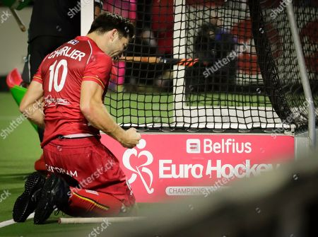 Cedric Charlier of Belgium celebrates after he scored a goal during  the EuroHockey 2019 men match between Belgium and Wales in Antwerp, Belgium, 20 August 2019.