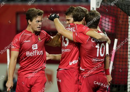 Cedric Charlier of Belgium and his team celebrate after he scored a goal during  the EuroHockey 2019 men match between Belgium and Wales in Antwerp, Belgium, 20 August 2019.