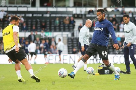 Derby County midfielder Tom Huddlestone (44) warms up during the EFL Sky Bet Championship match between Derby County and Bristol City at the Pride Park, Derby