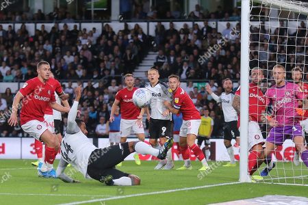 Derby County midfielder Tom Huddlestone (44) just fails to make contact with the ball at the back post during the EFL Sky Bet Championship match between Derby County and Bristol City at the Pride Park, Derby